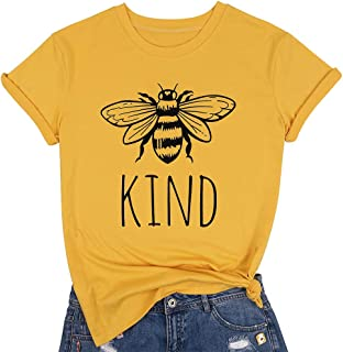 Be Kind Shirts Women Cute Bee Graphic Blessed Shirt Funny Inspirational Teacher Fall Tees Tops