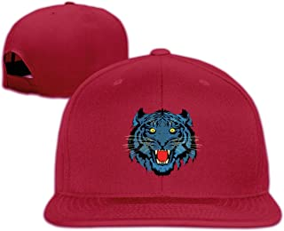 Unisex Fashion Fiercely Howling Tiger Face Printed Baseball Caps Buckle Design Adjustable Trucker Hat Black