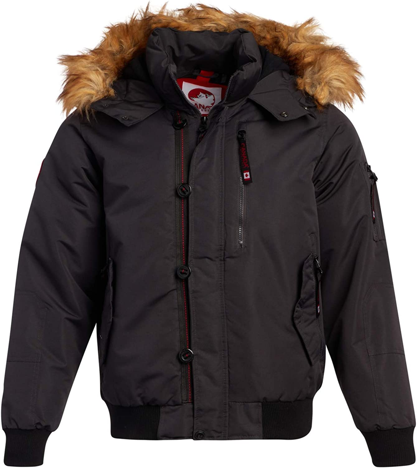 CANADA WEATHER GEAR Mens Winter Coats - Heavyweight Bomber Parka Jacket with Faux Fur Hood