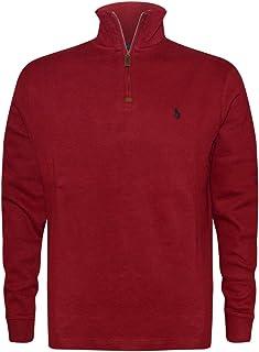 fd498732e Polo Ralph Lauren Mens Half Zip French Rib Cotton Sweater (Medium