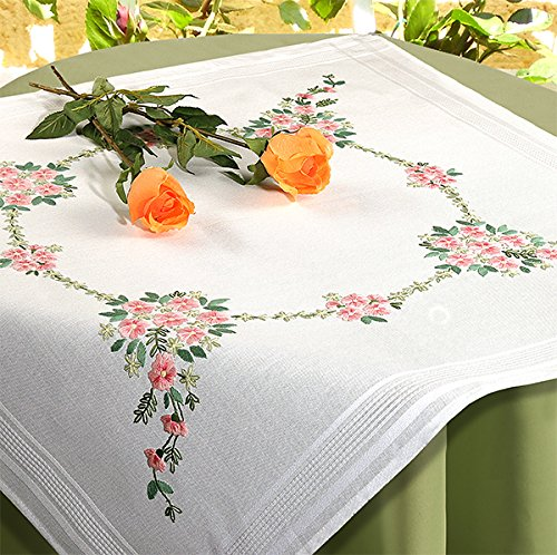 Kamaca Kit de punto de cruz de flores Sinfonía, punto de tallo, punto plano predibujado, 100% algodón, mantel de 80 x 80 cm, para bordar uno mismo