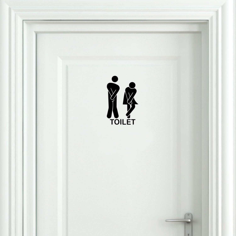 Amazon Com Vinyl Wall Art Decal Unisex Bathroom Toilet Sign 8 6 X 5 1 Modern Humorous Useful Sign For Bathroom Daycare Restroom School Store Restaurant Decor Kitchen Dining