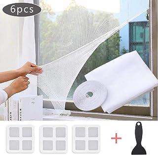 Faburo Malla mosquitera Standard para ventanas, de insectos de la protección de la ventana se puede cortar, con1 rollos de cintas autoadhesivas, 3 parches