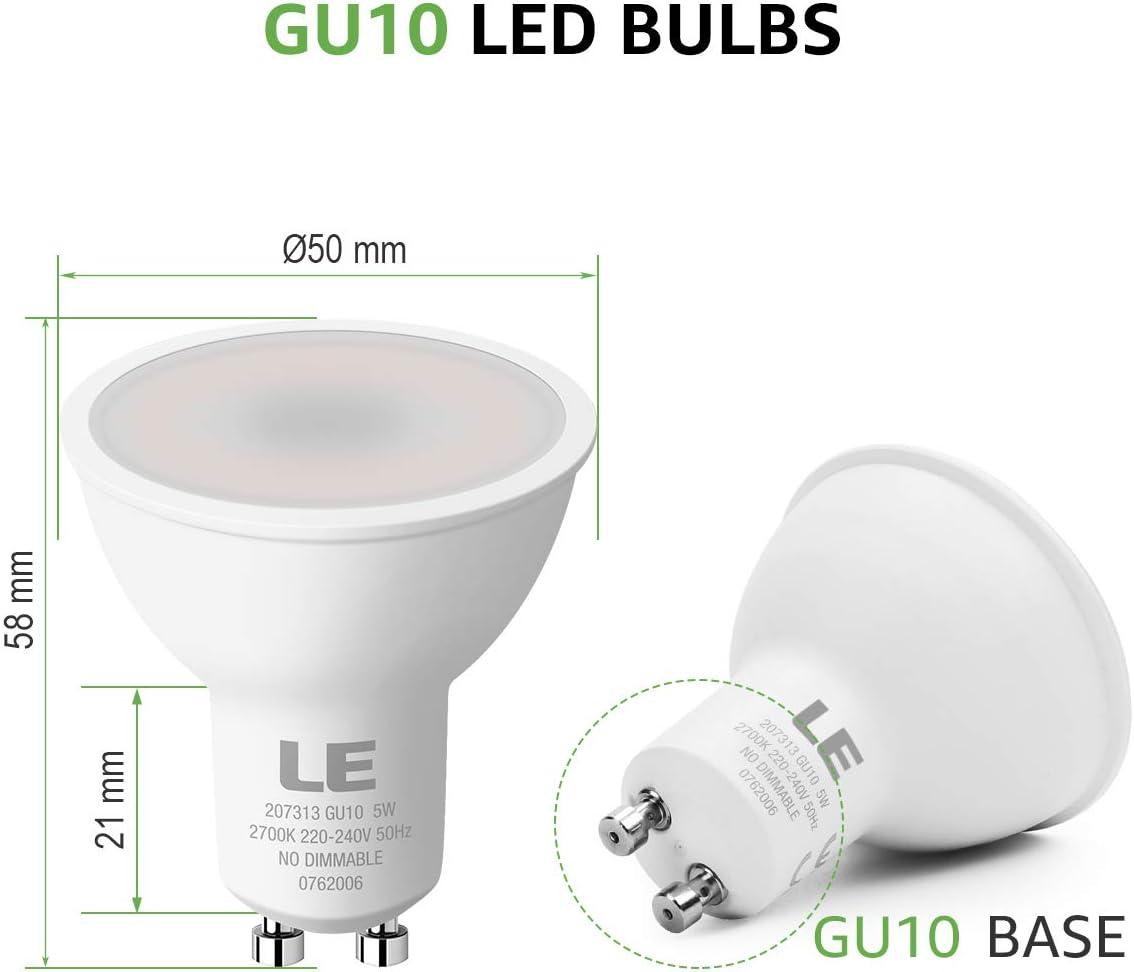 2700K warmwei/ßWarmwei/ß ersetzt 50W Halogenlampen LE GU10 LED 5W 450lm LED Leuchtmittle 100/° Strahlwinkel Reflektorlampen 10 St/ück