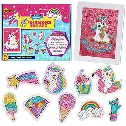 Diamond Painting Kits for Kids - 10 in 1 Unicorn Diamond Art for Kids Includes Gem Art Kit Canvas and 9 pcs Diamond Painting Stickers with 1 Frame (9'x7')