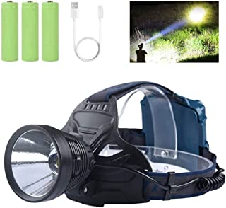 Professional LED Rechargeable Headlamps, Brightest 10000 Lumens KC06 Headlamps Flashlights for Adults with 4 Light Modes, ...