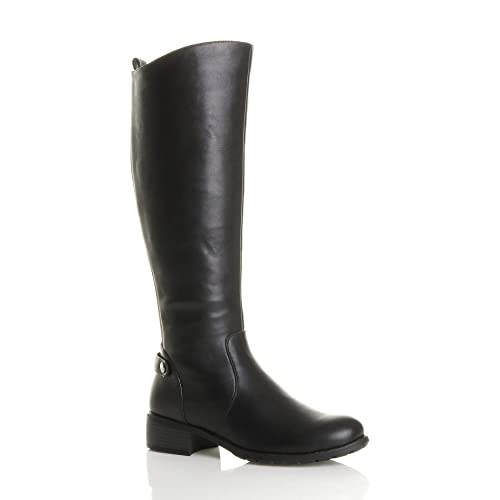 c6b250bde Womens ladies calf mid heel flat zip stretch gusset riding knee casual boots  size