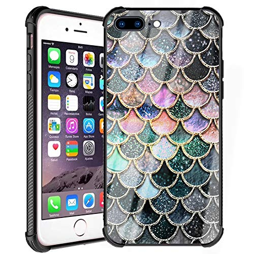 iPhone 7 Plus Case, iPhone 8 Plus Case for Girl Women Design Colorful Mermaid Scale Pattern Slim Fit Tempered Glass Back Cover with Soft Silicone TPU Shockproof Bumper Case for iPhone 7/8 Plus 5.5inch
