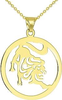 Solid 14k Yellow Gold Round Leo Zodiac Symbol Cut-Out Lion Pendant Necklace