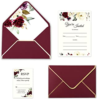 Doris Home 250 GSM 5 x7.3 inch Burgundy Invitations Cards with Envelopes and Printed Inner Sheets for Bridal Shower Invite, Baby Shower Invitations, Wedding, Engagement, Anniversary