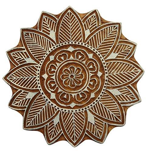 Braun Holzblock Blumenmuster Hand geschnitzte Textilien, Holz, Stempeldruck Blöcke