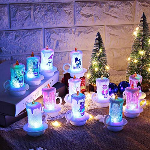 12pc Christmas Lights Christmas Decoration Night Candle Light LED Electronic Candle Snowman Light led Garden Lights Coloured