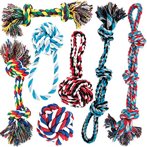 AMZpets Dog Toys for Aggressive Chewers - Set of 7 for Medium or Large Breed - Knotted, Heavy Rope for Tug of War, Fetch, Teething - Dog Accessories