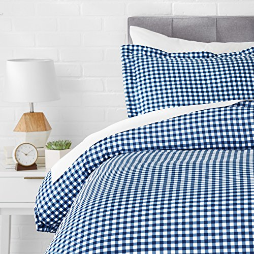 AmazonBasics Light-Weight Microfiber Duvet Cover Set with Snap Buttons - Twin/Twin XL, Gingham Plaid