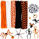 Whaline 450Pcs Halloween Pipe Cleaners Set Includes 5 Colors Chenille Stems 5 Sizes Wiggle Googly Eyes 4 Sizes Pompoms for Halloween Party DIY Art Craft Supplies (Black, Orange, White)