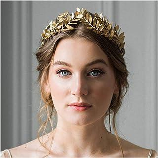 Anglacesmade Bridal Headband Leaf Vine Headband Gold Leaf Crown Leaf Tiara Wedding Headpiece Bridesmaid Prom Festival Hair Accessories for Women and Girls(Gold)