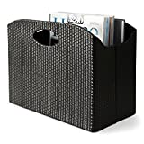 Blu Monaco - Quality Leather Magazine Holder - Basket with Handles - Magazine Rack - Floor or Table - (Woven Black) - Great Stand for Coffee Table, Side Table, Living Room, Reception Desk, Bathroom