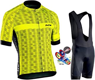 Men's Cycling Jersey Set Short Sleeve Pro Cycling Clothes Riding Quick Dry Jacket + Cycling Bib with 19D Gel Padded,A,XS
