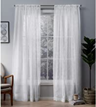 Exclusive Home Curtains Cali Embroidered Sheer Window Curtain Panel Pair with Rod Pocket, 50x84, Winter White, 2 Piece