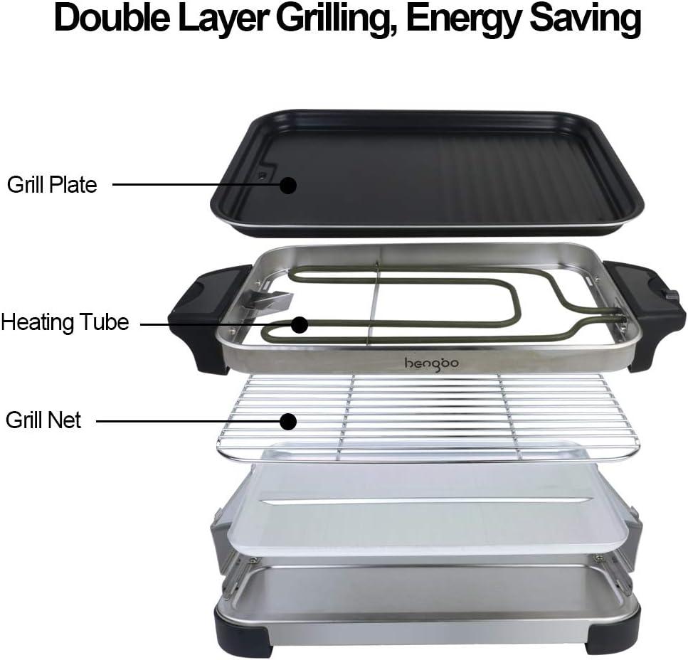 Nero Calore Regolabile Continuo Termostato 1300W Raclette 8 Persone Griglia Senza Fumo 2 in 1 Griglia Elettrica Barbecue Piastra Elettrica per Grigliare