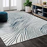 Abani Rugs Contemporary Wave Print 5'3'x7'6' Rectangle Area Rug, Vista Collection - Modern Blue & White Turkish Accent Rug