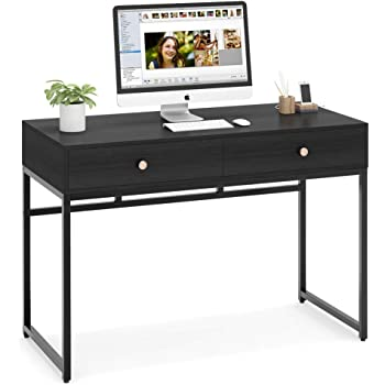 Tribesigns Computer Desk, Modern Simple 47 inch Home Office Desk Study Table Writing Desk with 2 Storage Drawers, Makeup Vanity Console Table, Black