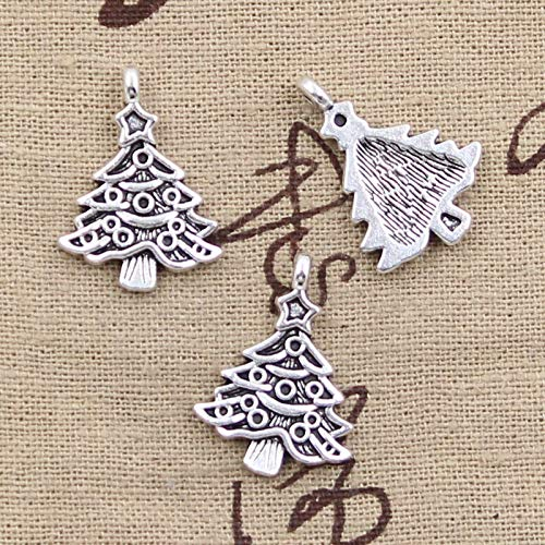 15pcs Charms Christmas Tree 24x17mm Antique Silver Color Pendants DIY Necklace Crafts Making Findings Handmade Tibetan Jewelry