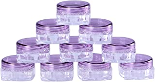 Lurrose 10pcs Empty Plastic Sample Containers Travel Cosmetic Makeup Containers for Facial Cream Shampoo Lotion 3g (Purple)