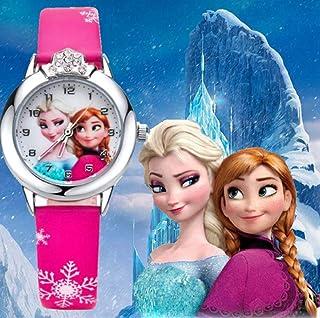 RJM Montre Quartz Fille Frozen Princesse des neiges Elsa et Anna Bracelet Cuir Rose Mode Fille étudiante (Cadran affichant...