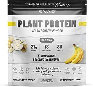 Plant Based Vegan Protein Powder, Banana, Non-GMO, Soy Free, Gluten Free, Organic Nitric Oxide Booster & BCAA Amino Acid f...