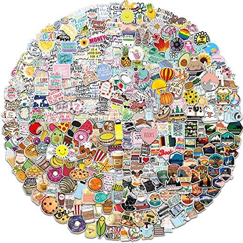 400 paquetes pegatinas mixtas con citas inspiradoras, estéticas, comida, lectura, stickers parque natural para computadora portátil, botella de agua, patineta, maleta, almohadilla vinilo impermeable