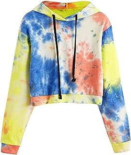 Meikosks Womens Tie-dye Print Sweatshirt Long Sleeve Hoodie Loose Casual Pullover Ladies Blouses