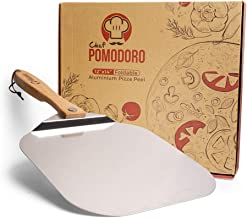 Chef Pomodoro Aluminum Metal Pizza Peel with Foldable Wood Handle for Easy Storage 12-Inch x 14-Inch, Gourmet Luxury Pizza...