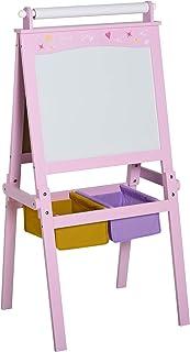 HOMCOM Tableau Enfant - chevalet Enfant - Ardoise Double Face - Tableau Blanc Tableau à Craie - Rouleau Papier + paniers R...