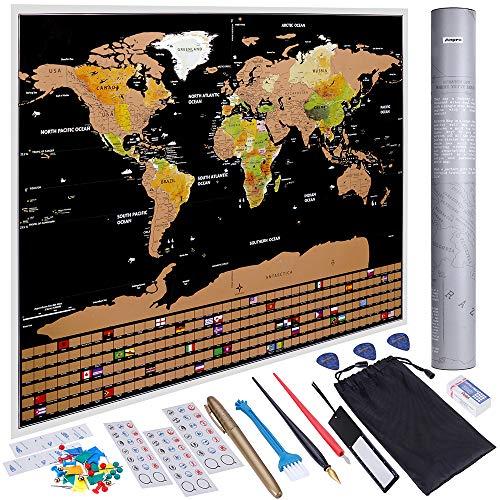 Anpro Carte du Monde à Gratter XXL 82.5cm x 59.5cm Noir et Doré,Edition Premium avec Drapeaux de Tous Les Pays,Tube Cadeau et 46PCS Accessoires pour Voyageurs,Explorateurs,Collectionneurs
