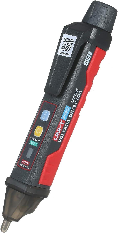 Montloxs UT12E Medidor detector de voltaje de CA 24 V-1000 V Probador portátil sin contacto Enchufe de lápiz Lápiz de prueba eléctrico de corriente de voltaje con alarma de luz y sonido y vibración de