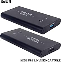 KuWFi HD Video Capture Device Card HDMI to USB3.0 HD Video Converters Game Streaming Live Stream Broadcast 1080P for OBS/Vmix/Wirecast/skype