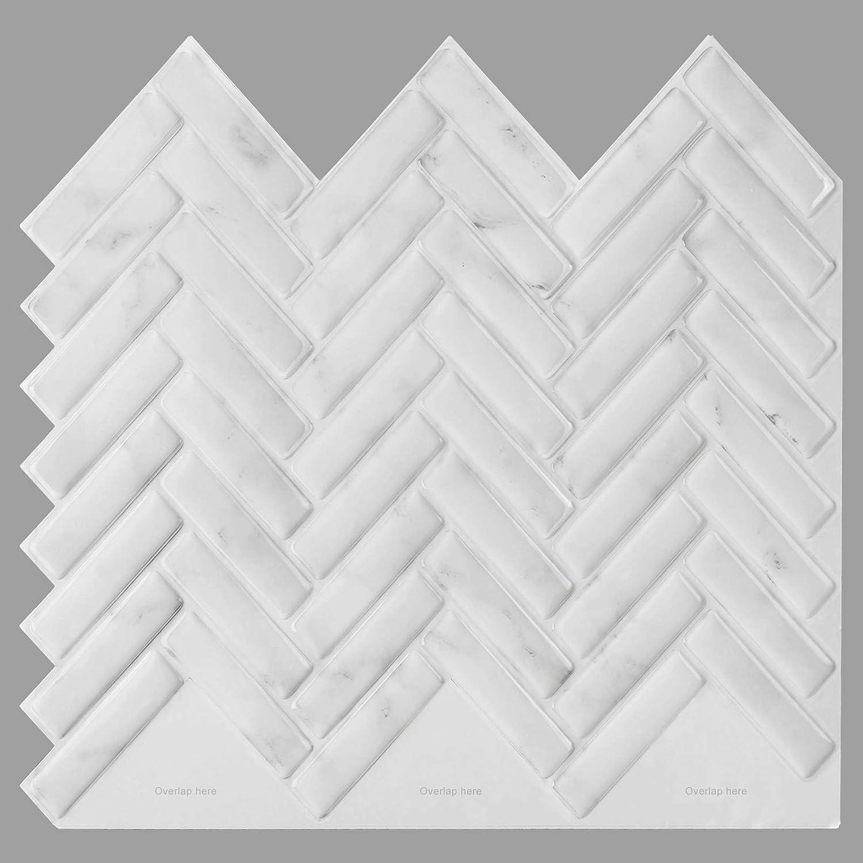 decalmile 10 Pcs 3D Peel and Stick Tile Backsplash 12