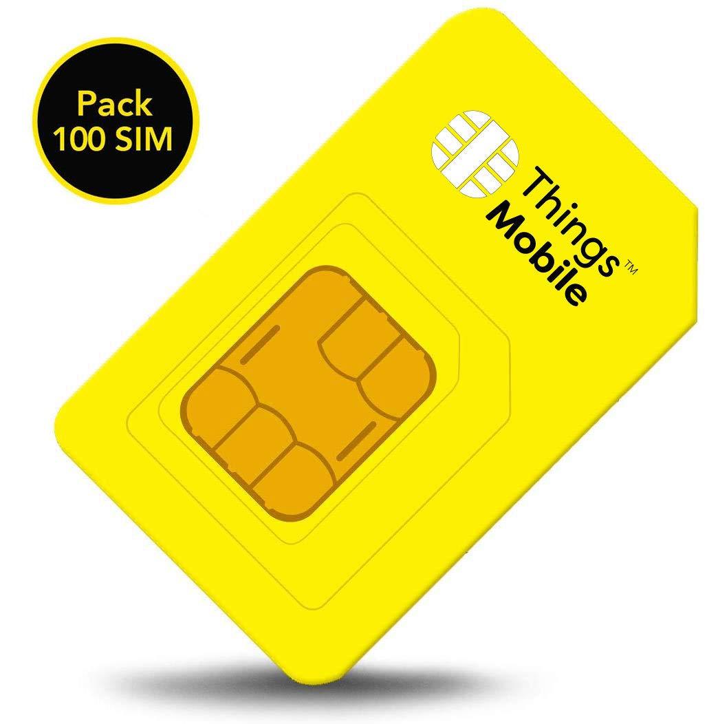 Pack de 100 tarjetas SIM Things Mobile de Prepago para IOT y M2M con Cobertura Global sin costos fijos. Ideal para domótica, rastreadores GPS, telemetría, alarmas, smart city, automotive.: Amazon.es: Electrónica