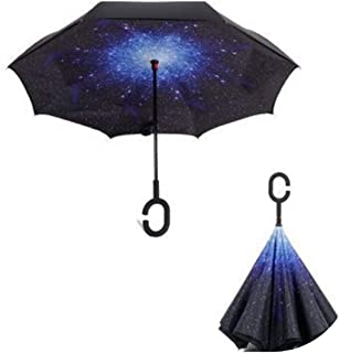 Wenzi-day Blue Sky Reverse Folding Double Layer Inverted Umbrella Self Stand Inside Out Rain Protection Long C-Hook Hands For Car,Star