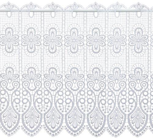 Plauener Spitze by Modespitze, Store Bistro Gardine Scheibengardine mit Stangendurchzug, hochwertige Stickerei, Höhe 49 cm, Breite 96 cm, Weiß