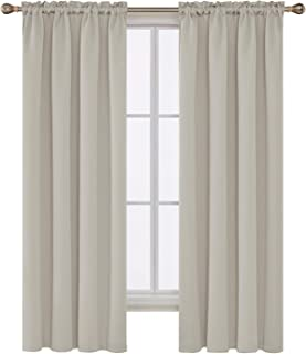 Deconovo Light Beige Blackout Curtains Rod Pocket Curtain Panels Room Darkening Curtains for Bedroom 52 W x 72 L Inch 2 Panels