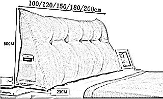 Bbwjsh Large Back Cushion Cushion Headboard Bedside Cushion Triangle Fabric Soft Bag Wedge Waist Pillow, Multi-Function, 9 Colors, 5 Yards (Color : E, Size : 120 × 22 × 50cm)