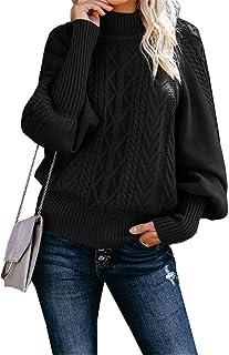 Color sólido Jersey de Cuello Alto de Las Mujeres, Europa y América Weaving Jumper, Casual Cuello Alto suéter de Punto Cal...