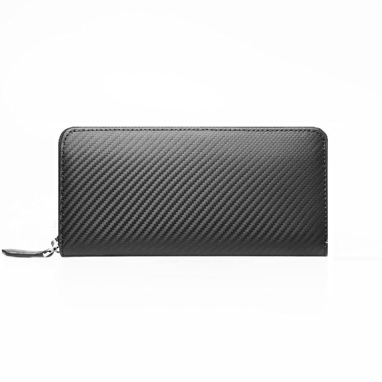 平和的ボイコットジーンズLANZA (ランザ) 長財布 カーボンレザー [ ブラック ] スマート ラウンド 財布 イタリア製