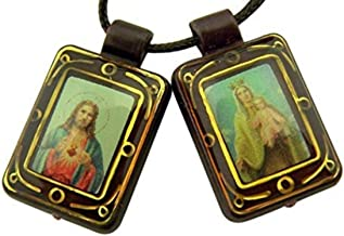 Catholic Brands Brown Moulded Scapular with Sacred Heart and Our Lady Pendant, 14 1/2 Inch