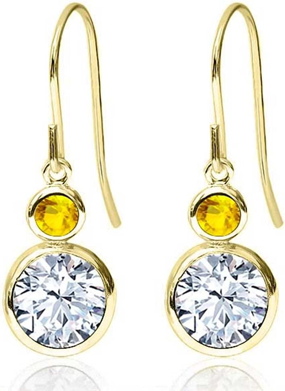 1.94 Ct Round White Zirconia Yellow Sapphire 14K Yellow gold Earrings
