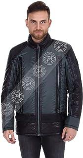Erkek Gerçek Deri Su Geçirmez Kumaş Spor Mont Siyah Yeşil Luxury EK-1423-19590 FA1