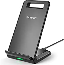 Fast Wireless Charger, TECHDOTY Qi Charge Wireless Charging Stand Compatible iPhone Xs Max/Xs /Xr/X/8/8 Plus, Galaxy S10/S10 Plus/Note 9/S9/Note 8/S8/ S7 S7 Edge/S6 Edge Plus/Note 5 (No AC Adapter)