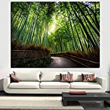 Cuadro de lienzo de paisaje moderno de gran tamaño, Kyoto, Japón, bosque de bambú, caminos de montaña, impresión HD, arte de pared, decoración para sala de estar, Cuadros 40x60 CM (sin marco)
